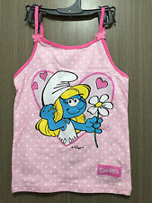 BNWT Girls Sz 5 Pretty Pink/Polka Dot Smurfs Print Dainty Strap Singlet Top