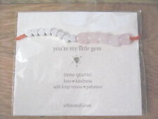WHITESTUFF FRIENDSHIP BRACELET ROSE QUARTZ, HEARTS AND ORANGE BEADS ON CARD NEW