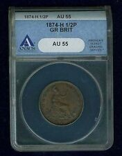 G.B./ENGLAND VICTORIA 1874-H HALF PENNY ALMOST UNCIRCULATED CERTIFIED NGC AU55