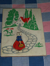 """Painted Wood Plaque Girl 3 Dimensional 6 1/2 x 4 7/8"""" Light Smudging"""