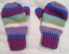Girls Mittens Size 4-6x Knitted Lavender Blue Purple Green White Stripes