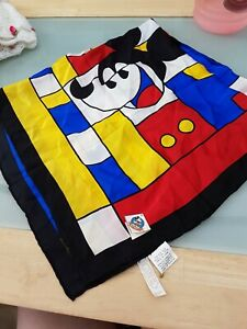 Mickey's World Disney 100% Pure Silk Scarf Vintage lovely condition Mickey Mouse