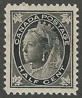 Canada, 1897, Scott #66, 1/2c black, Mint, O.G., N.H., V.F.-X.F. Centering