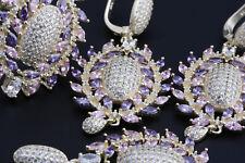 Turkish Handmade Ottoman 925 Sterling Silver Amethyst  Topaz Sets Ring Size 8