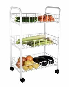 WHITE 3 TIER FRUIT & VEGETABLE STORAGE TROLLEY STAND WITH WHEELS CART KITCHEN