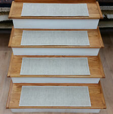 "Rug Depot 13 Casual Stripe Carpet Stair Treads 28""x9"" Staircase Rugs Beige Wool"