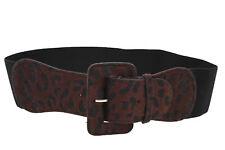 Women Hip High Waist Black Elastic Wide Belt Brown Leopard Square Buckle XS S M