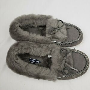 Lands End Womens Suede Leather Moccasin Slippers w/ Shearling Fur Collar NWOT