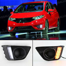 2x DRL LED Daytime Run Light Drive Fog Lamp with Turn Signal for Honda FIT JAZZ