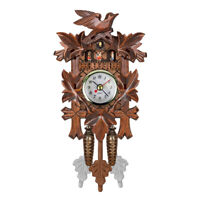 Cuckoo Wall Clock Bird Wood Hanging Decorations for Home Cafe Restaurant T4R3