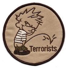 "4X4"" CALVIN and HOBBS little boy pants off pee Terrorists IRON ON SEW ON PATCH"