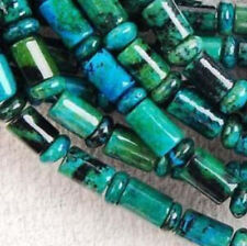 6x9mm Azurite Chrysocolla Gem Column Loose Beads 15""