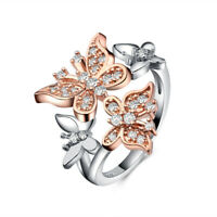 Butterfly Women's Wedding Rings Rose Gold Filled White Sapphire Size5-12