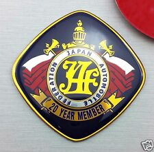 JAF 20 YEAR MEMBER JAPAN EMBLEM FEDERATION AUTOMOBILE BADGE ALUMINIUM STICKER