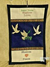 Peace Dove Happiness Love, 3 White Doves Embroidered Wall Art Hanging Handmade