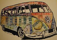 vw splitty camper Limited edition A3 silk poster of original art from tax discs
