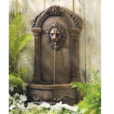 Majestic Lion Head Outdoor Water Fountain Wall Art Stone Look Garden Yard Decor