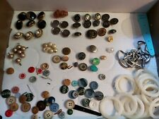Vintage Lot of Unique Buttons Metal Beaded Pearled Wood Glass Well Over 50