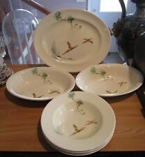"""7 Pieces ROYAL DOULTON """" The Coppice"""" Earthenware-Game Birds Flying In Woods"""
