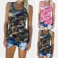 Womens Sleeveless Army Camo Camouflage Tank Tops Ladies Slim Shirt Mini Vest New