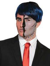 Comic Book Pop Art Face Facial Tattoo Fancy Dress 50s Fashion Halloween