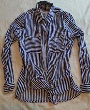 Blue White Striped H&M Women Girl Shirt Top Blouse Button Up Pockets Stripes S/M