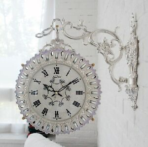 Antique Luxury Silver Double Sided Wall Clock Art Home Decor Station Clock Gift