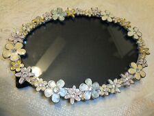 Vintage Oval Enamel Flowers Picture Frame Pink Blue Yellow with Rhinestones 4x6