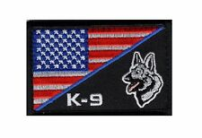 K-9 Usa American Flag Thin Blue Line Police Swat Tactical Morale Hook Patch(PK2)