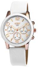 Akzent Damen Armbanduhr Chrono Look Armband Uhr Weiß 40 mm 3 ATM Wasserdicht