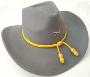 CSA CONFEDERATE REBEL CAVALRY Civil War Cross Saber GRAY SLOUCH HAT YELLOW CORD
