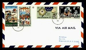 DR WHO 1971 ASCENSION AIRMAIL TO USA SPACE COMBO  g20374