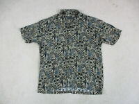 VINTAGE Ocean Pacific Button Up Shirt Adult Large Black Brown Rayon Camp Mens