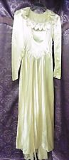 30s-40s Ivory Satin Wedding Gown w/ Petals at Neck sz S