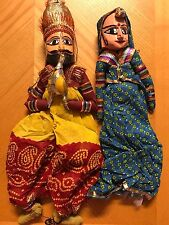 HANDMADE WOOD COSTUME PUPPET MARIONETTE SET RAJASTHAN INDIA WALL HANGING-USA SE
