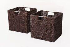 2 VIVANNO Regalkörbe Schrankkorb Seegras für Ikea Expedit/Bonde braun