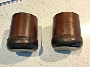 PAIR VINTAGE LEATHER STITCHED DICE CUPS BOXES NICE! NO RESERVE AUCTION!
