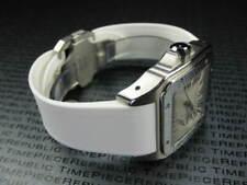 New 20mm PU Rubber Strap CARTIER SANTOS 100 Medium Diver Watch Band White x1