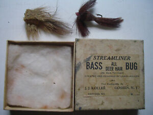VINTAGE DEER HAIR BASS BUGS. LOT OF 2, ABOUT 3 INCHES LONG, IN GOOD CONDITION.