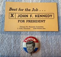 "1960 JOHN F KENNEDY Campaign Card + Portrait 1"" JFK Litho Button Pin ORIGINAL K1"