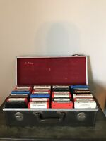 Lot of 24 8-Track Cartridge Cassette Tapes Untested in Vintage Case Box As-Is