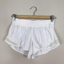 Lululemon White Hotty Hot Athletic Lined Shorts Zip Pocket Women's Size 4 *read