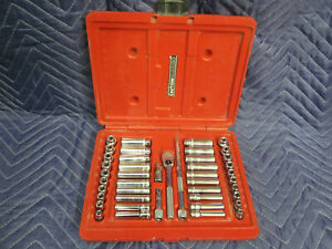 "MAC TOOLS SOCKET SET 1/4"" DRIVE STANDARD AND METRIC SIZES W/ RATCHET & HARD CASE"