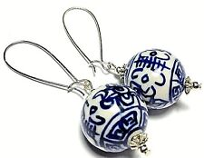 Long Wired Earrings Large Blue Chinese Porcelain Ball Bead Drop Dangle UK MADE