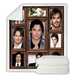 Ian Somerhalder 3D Print Sherpa Blanket Sofa Travel Couch Quilt Cover Throw J234