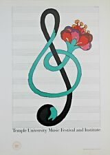 Milton Glaser Lithograph Temple University Music Festival And Institute 1978