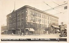 Real Photo Postcard Manufacturers Hotel & Cigar Store in Moline, Illinois~111560