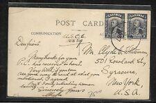 SARAWAK (P0110B) 1937 PPC OF OWL SENT TO USA 3C PR