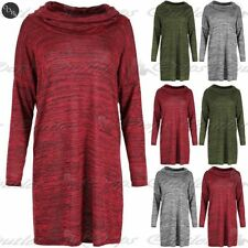 Polyester Cowl Neck 3/4 Sleeve Tunic Dresses for Women