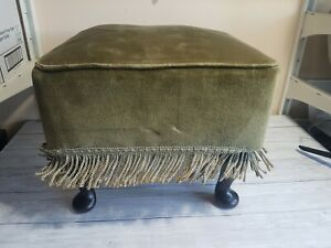 Square Vintage Footstool Foot Rest Green Frill Fabric Wooden Legs Furniture Home